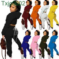 Women Tracksuits Two Pieces Set Designer Casual Solid Hooded Sweater Pullover With Pocket Drawstring Pencli Pants Party Ladies Leisure Suits