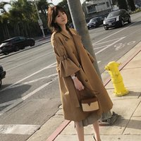 Women's Jackets 2021 Autumn Casual Thin Trench Coat Women Bell Sleeve Double-breasted Long Windbreakers Female XS-XL CC1524