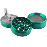Hand Crank Tobacco Herb Smoking Grinder 4 Layers 63mm Large Zinc Alloy Grinders Cigarette Spice Crusher With Handle Sharpstone NHF8602