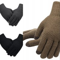 Men's Knitted Gloves Winter Autumn Male Touch Screen Gloves High Quality Plus Thin Velvet Solid Warm Mittens Business 316 X2