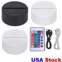 3in1 RGB LED LED Bases de lampe pour illusion 3D Lumière de nuit, Base de rechange de commutateur tactile pour les lampes de bureau de table 3D 9D USA Drop Ship FedEx