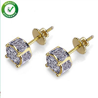 Fashion Women Mens Earrings Hip Hop Diamond Stud Earings Iced Out Bling CZ Rock Punk Round Wedding Gift