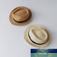 Wide Brim Hats Children Straw Travel Panama Beach Sunshade Sun Hat Kids Casual Jazz Gentleman Cap Outdoor Boys Girls Bucket Basin Caps
