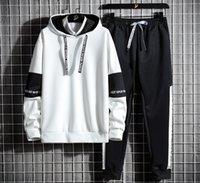 Casual Tracksuit Men Hooded Sweatshirt Outfit Spring Autumn Mens Sets Sportswear Male Hoodie+Pants 2PCS Jogging Sports Suit