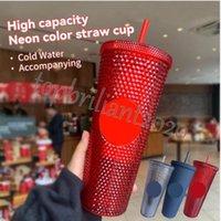 700ml personalizado starbucks copo frio copo iridescente 24 bling arco-íris unicórnio caneca de café com palha 2022 Últimas