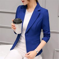 Women's Suits & Blazers 2021 Women Black Slim Fit Blazer Jackets Notched Office Work Blue Outfits Casual Tops Long Sleeve Outerwear Coats ZZ