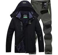 Outdoor Jackets&Hoodies Jacket + Pants Winter Fleece Hiking Jackets Men Ski Suit Windproof Waterproof Outwear Raincoat Windbreaker