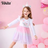 Vikita crianças roupas longas mouwen cartoon sereia herf inverno meninas princesa crianças