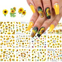 12 sheets sunflower nail stickers floral flower nail art water Decals Transfer Foils for Nails Supply Watermark Small Daisy Designs Nail Tattoos for Women