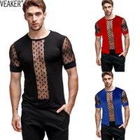 2020 New Men's Sexy Maglia trasparente T Shirt Transparent Maschio Slim Fit Polka Dot Stampato Mesh T-shirt Estate Manica corta Vedi attraverso le cime