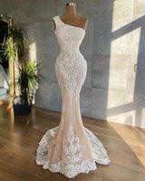Elegant One Shoulder Mermaid Wedding Dresses For Bride Lace Applique vestidos de novia Civil Plus Size Bridal Gowns