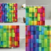 격자 무늬 패턴 디지털 인쇄 샤워 커튼 방수 샤워 커튼 욕실 파티션 크로스 테두리 샤워 커튼 패브릭 42YY S2