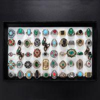 Korting promotie bohemien zilver goud vintage ring partij geschenken edelsteen turquoise kostuum bruiloft vrouwen sieraden partij gift band ringen