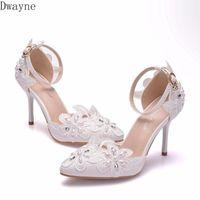 Dress Shoes High Heels White Lace Rhinestone Wedding Pumps Stiletto Pointed Banquet Single Women's Plus Size 41,42 9 Cm