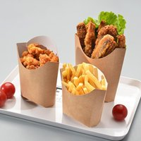 Fries Box Fast Packing Takeaway Kraftpapier Kom Snack Anti-Oil Cups Neem snel Houders wegwerpgereedschap weg