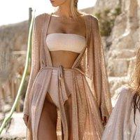 Women's Swimwear Women Golden Beach Long Maxi Dress Bikini Cover Up Cardigan Bathing Suit Beachwear Summer Ups Dresses