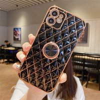 Luxury Plating Ring Stand Soft Silicon Phone Case For Apple iphone 13 12 Pro Max MiNi 11Pro Max XR X XS Max 7 8 plus Back Cover