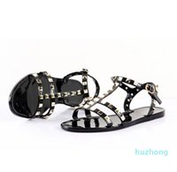 New 2018 Woman Summer Sandals Rivets big bowknot Flip Flops Beach Sandalias Femininas Flat Jelly Designers Sandals