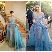 Cannes Film Festival Zuhair Murad Celebrity Dresses With Detachable Train Sheer Neck Mermaid Evening Dress Red Carpet Short Sleev