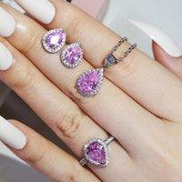 Bracelet, boucles d'oreilles collier 3pcs Pack Saint Valentin Forlove Deux cadeau Real 925 Sterling Silver Poir Engagement De Mariage Bijoux de mariée pour