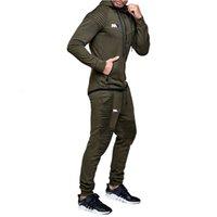 Cousssuit мода толстовки костюмы бренд армии зеленые наборы мужчин толстовки + спортивные штаны осень зима флис с капюшоном пуловер
