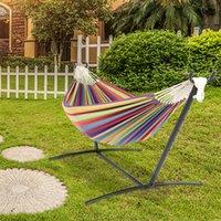 9ft hangmatten zwart stalen pijp hangmat set frame met 200 * 150 cm polyester katoen multicolor streep natuurlijke touw