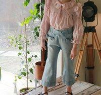 Fashion Kids Jeans printemps Nouveaux enfants Bow Falbala Denim Pantalons Sweet Girls Soft Stretch Cowboy Pants A6028