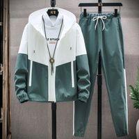 Men's Tracksuits Men Tracksuit Casual Hoodies Sets 2021 Spring Male Jackets+Pants Two Piece Hip Hop Streetwear Sports Suit Patchwork