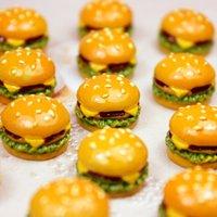 10Pcs Cute Mini Resin Hamburger Sandwich Charms Pendants Patch For DIY Earrings Key Chains Fashion Jewelry Making