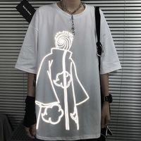 Naruto Tshirt Streetwear Erkekler Yaz Amin Pamuk Harajuku T-Shirt Rahat Karikatür Komik Japonya Yansıtıcı Tshirt Streetwear Tops 210315