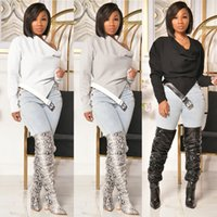Causal Womens Tops and Blouses With Belt Irregular Streetwear Lent Clothing For Women Outfit