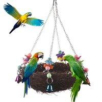 Handcraft Handcraft Bird's Nest Brinquedos para papagaios de pássaros para jogar mordida escalada Bird Bird Brinquedos Papagaio Pássaro Pequeno Pet Toy Pendurado Cesta