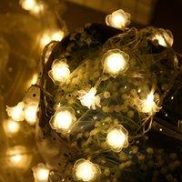 Miflame 10/20/30/40 LED Garland Rose Light String Fadas Fadas Luzes Luz de Luz da Flor para Valentine Wedding Party Decoration