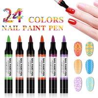 24 ألوان مسمار البولندية القلم 3d زهرة اللوحة قلم رصاص مسمار الفن البولندية هلام البولندية الورنيش مانيكير أدوات TSLM1