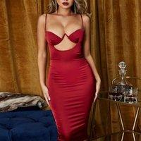 Kadın Sling Elbise Göğüs Pad Ile Yaz Moda Seksi Kesme Backless Çanta Kalça Elbise Gece Kulübü Kıyafet 2021 Yeni Sıcak