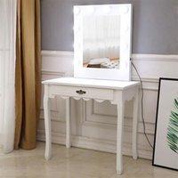 침실 가구 FCH 관대 한 거울 단일 펌핑 발 전구 냉방 드레싱 테이블 화이트