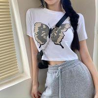 Women's T-Shirt QWEEK Animal Print White Crop For Women Streetwear Summer Top 2021 Fashion Korean Short Sleeve Female