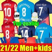 21 22 Atletico Madrid Soccer Jerseys Suarez João Félix 2021 2022 M. Llorente Correa Koke Lemar Carrasco 성인 남성 여성 키트 청소년 축구 셔츠
