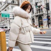 Fitaylor Kış Sıcak 90% Beyaz Ördek Aşağı Parka Kadınlar Büyük Gerçek Rakun Kürk Yaka Kapşonlu Kısa Ceket Kaban Gevşek Aşağı Dış Giyim T200102