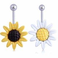 Gofuly New Brand Sunflower FlowesR Singolo di acciaio chirurgico ANELLO ANELLO ANELLO PIERCING NAEL PIERCING Best