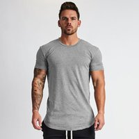 Muscleguys New Plain Roupas Fitness T Shirt Homens O-pescoço T-shirt Algodão Bodybuilding T-shirt Slim Fit Tops Gyms Tshirt Homme 210315