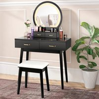 amzdeal Vanity Desk with Lighted Mirror, Makeup Dressing Table for Bedroom 3 Color Lighting Modes, Adjustable Brightness, 4 Drawers, Cushioned Stool - Black