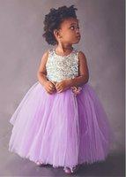Sequins Top Flower Girls' Dresses for Weddings Criss Cross Back Bow Kids Formal Party Wear Tulle Princess Communion Dress