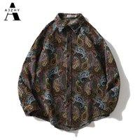 Ajzhy Vintage Рубашка Куртки Мужская Кнопка с длинным рукавом Свободные негабаритные Зимние Теплые Пальто Повседневная Мода Harajuku Hip Hop Одежда 210310