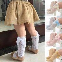 Рожденные девочки аксессуары в колено высокие носки младенцы колготки теплые ленты ленты лук твердой хлопчатобумажной растягиваться милый милый 0-3y
