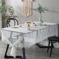 MyLB белый кружевной скатерть для свадьбы романтический цветочный узор полый стол чехол простая гостиница банкетный стол настольный декор ткань
