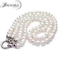 Настоящие пресноводные двойные ожерелье для женщин, настоящие белые свадьбы натуральные жемчужные ожерелья годовщины подарок