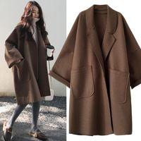 Women's Wool & Blends Plus Size Women Coats Autumn Winter Thin Woolen Coat Fat Sister Loose Mid Length Windbreaker Jacket 200 Kg Tide