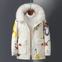 Designer men and women cartoon down jacket winter white duck downs coat thick warm long student jackets couple style
