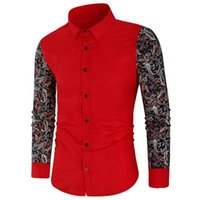 PaiSley Floral Print Мужские Рубашки Ретро Цветок Лоскутная Мужская Рубашка Длинные Рубашка Повседневная Slim Fit Мужская Мужская Кнопка Одежда